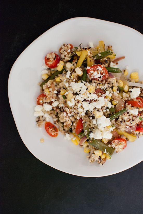 An end-of-summer green bean quinoa salad with feta
