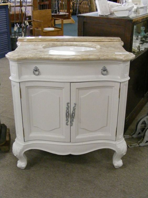 remarkable curved front bathroom vanity   Available now at ReHouse, is this beautiful bathroom ...