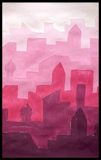 Atmospheric Perspective: Use Tints and Shades to paint a hazy city.