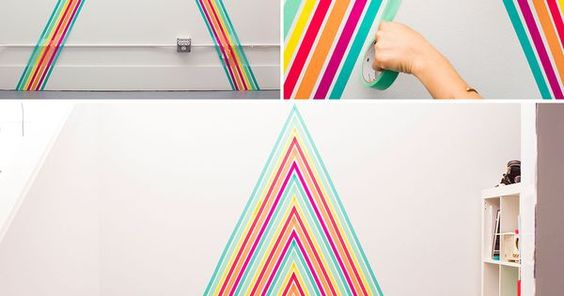 Liked on Pinterest: Washi tape wallpaper.