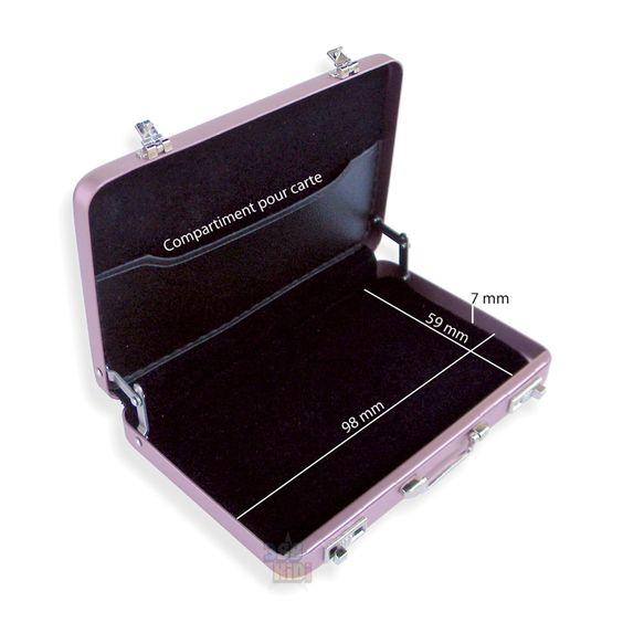 Mini Malette *ARGENT* Attached Case Porte Cartes Aluminium Visite Métal Rigide…