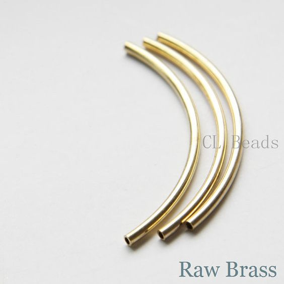 30pcs Raw Brass Curved Tube 2x50mm with ID 1.4mm by clbeads