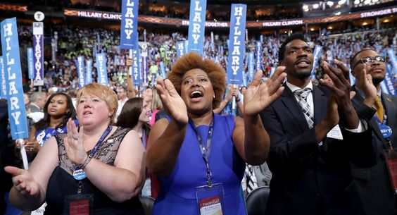 Delegates cheer on the final night of the Democratic National Convention. (Getty)