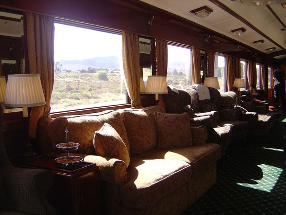 An inside view of the luxurious Rovos Rail, South Africa.