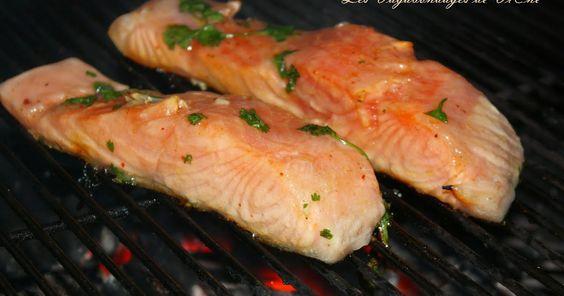 Les Vagabondages de Vi@ne: Pavés de saumon marinés au miel, citron vert et coriandre, au barbecue