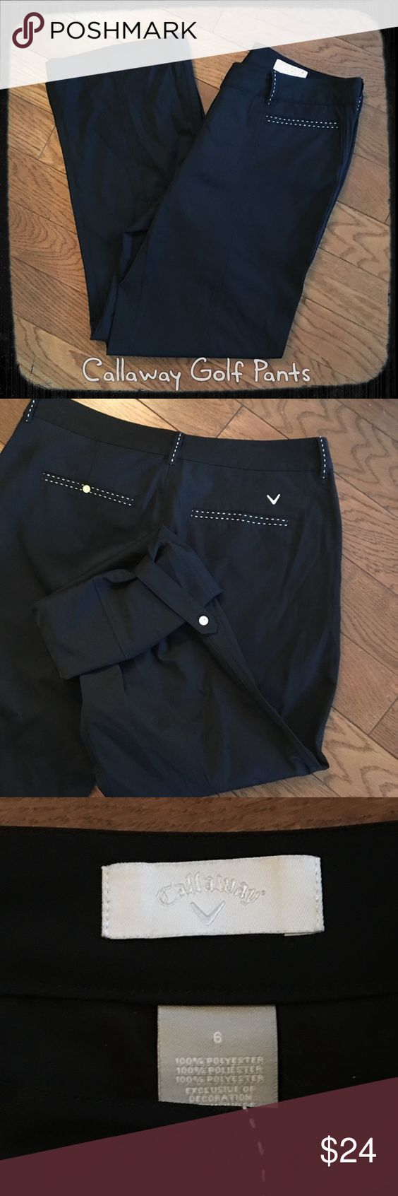 Women's Callaway Golf Pants ⛳️ Women's Black full length Callaway golf pants, size 6, never worn. They have the buttons to turn them up for Capri length. Callaway Pants