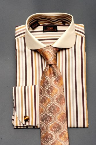 Dress shirt new by steven land spread collar french cuff for Pin collar shirt double cuff