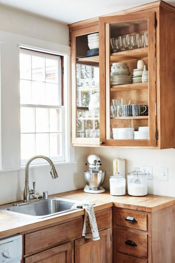 cute natural wood kitchen cabinets