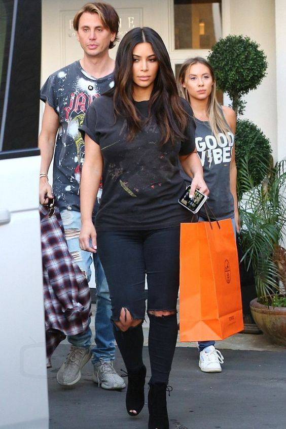 Kim Kardashian wearing Tom Ford FW11 Ankle Boots, Vintage Vintage N.W.A. T-Shirt