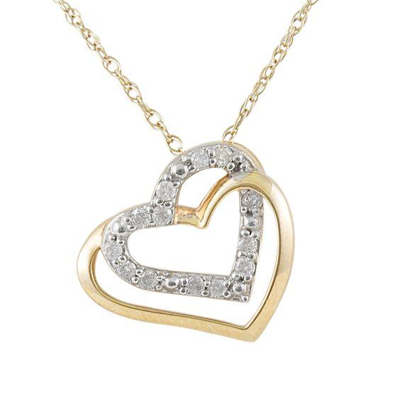 10KY 1/10 cttw Diamond Double Heart Pendant - Pendant Necklaces - Necklaces | Jewel Exclusive - #jewelexclusive