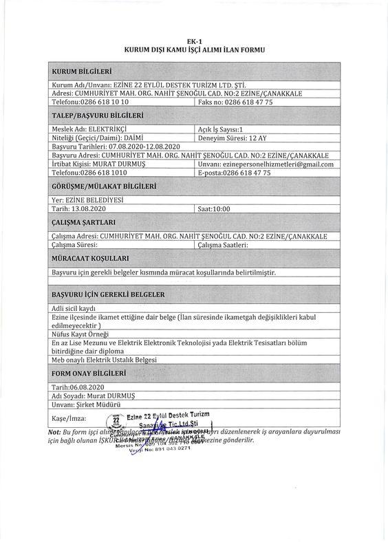 Ezine Belediyesi İşçi Alımı Ağustos 2020
