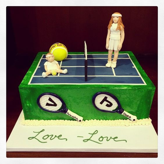 Baby Vaughn (turning 1) and mama Joyce have birthdays just days apart. Dad thought it would be fun to celebrate with a tennis-themed cake!! Photo by Sugar Flower Cake Shop. www.sugarflowercakeshop.com
