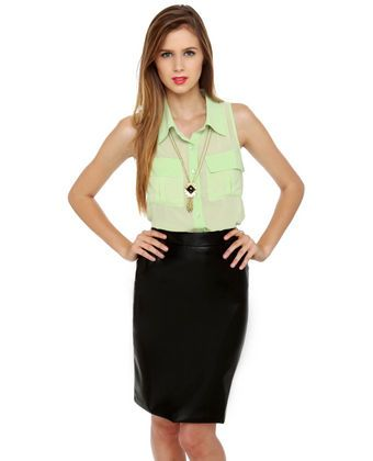One of the Gang Black Vegan Leather Skirt   I have the exact same top! :)