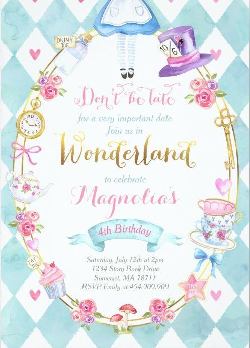 Alice In Wonderland Birthday Invitation Tea Party Zazzle Com In 2021 Alice In Wonderland Tea Party Birthday Wonderland Party Decorations Wonderland Party Invitations