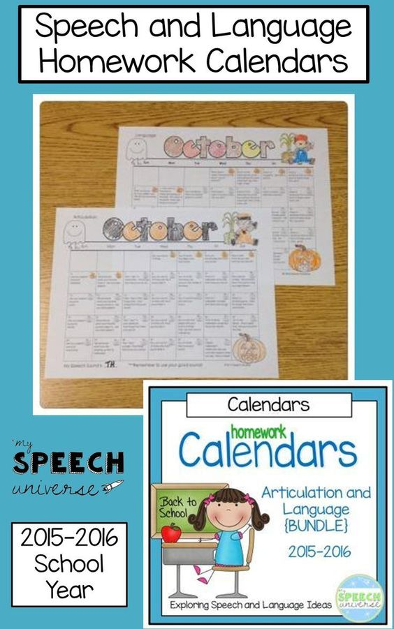 Speech And Language Homework Calendars {Bundle} | Homework