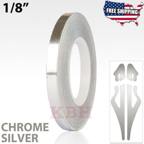 1 8 Roll Vinyl Pinstriping Pin Stripe Soild Line Tape Sticker 3mm Chrome Silver Vinyl Chrome Pinstripe