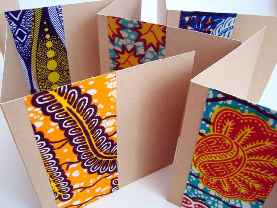 notecard set...luv the idea of adhering a strip of gorgeous cloth as the only design element...African wax print fabric on kraft paper...