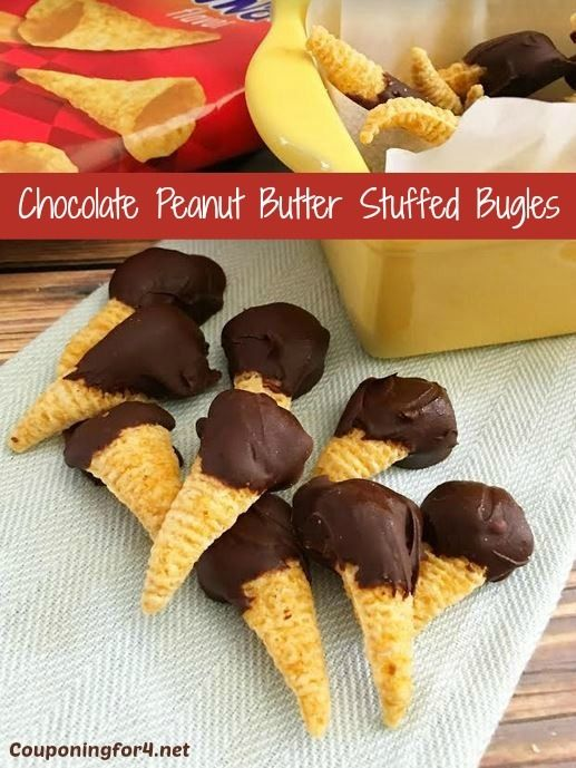 These Chocolate Dipped Peanut Butter Stuffed Bugles are amazingly delicious and easy to make! Serve this dessert recipe at a party, a barbecue or for a birthday!
