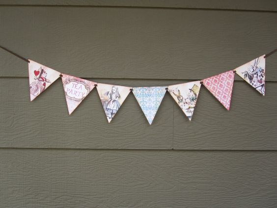 Tea Party Flag Pennant Banner (Alice in Wonderland). $10.00, via Etsy.