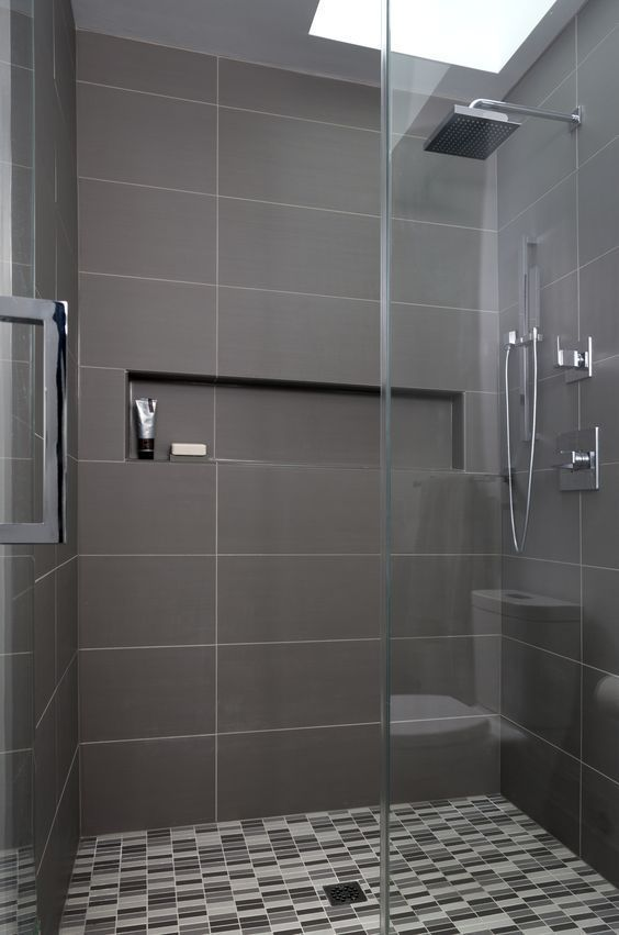 Simple And Elegant Bathroom With Black Tapware Large Format Grey Tiles And Free Standing Bath G Elegant Bathroom Bathroom Design Small Modern Modern Bathroom