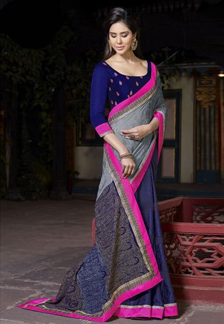 Grey Faux Georgette Jaquard and Faux Crepe Jaquard Saree with Blouse