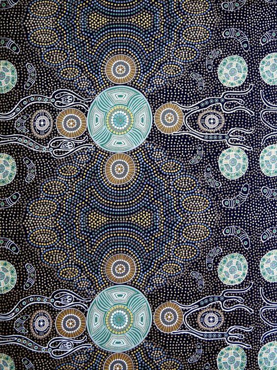 Australischer Stoff Spirit People Charcoal - True Fabrics
