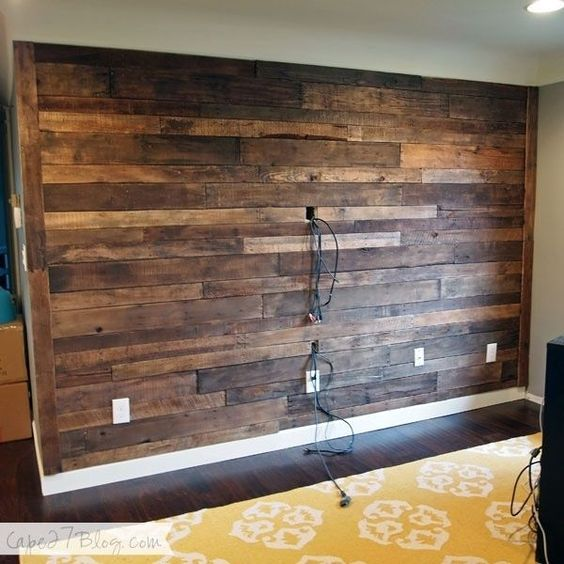 pallet wood wall no glue   Awesome wood pallet wall   Interior Design