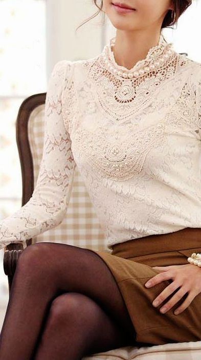 Gorgeous office outfits: Lace top, pearls, light skirt and dark tights.