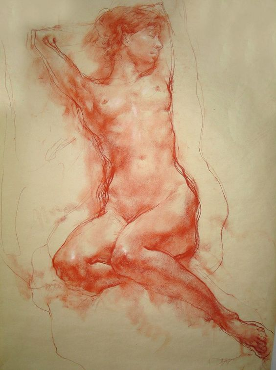 Russian Academy of Arts student seated nude female anatomy figure study drawing. NSFW <3: