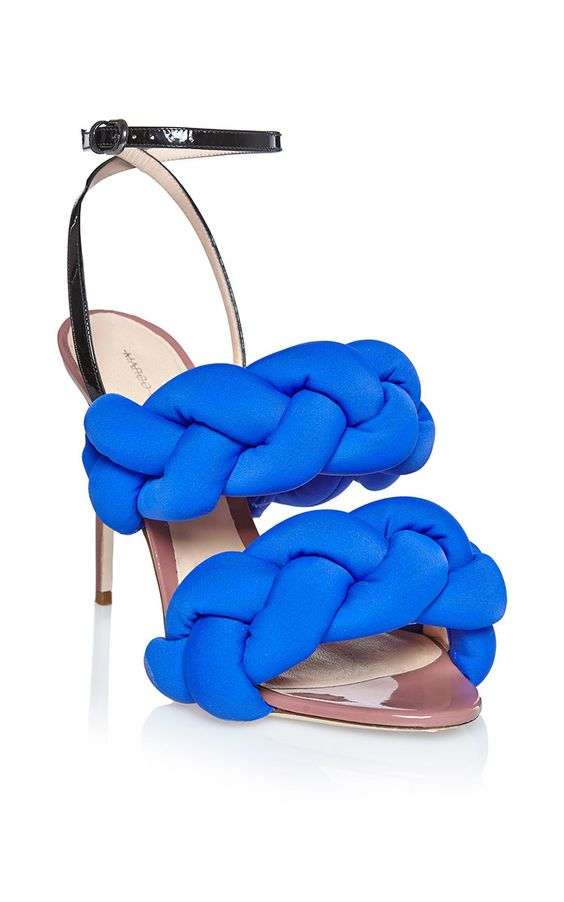 Cobalt Braided Sandal by Marco de Vincenzo for Preorder on Moda Operandi
