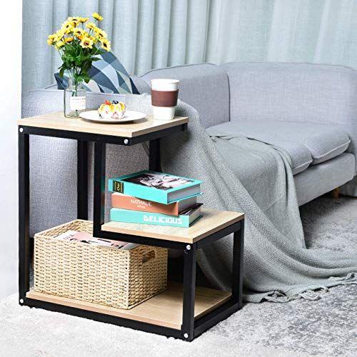 Buy End Table Storage Shelf 3 Tier Nightstand Multi Purpose Small