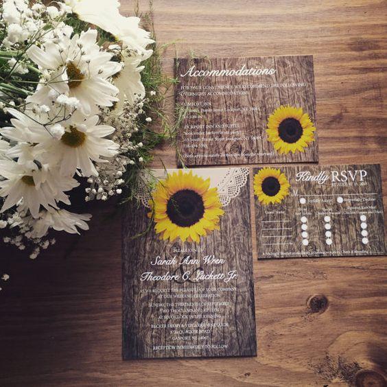 Rustic Sunflower Wedding Invitation by StagDoeandFawnStudio