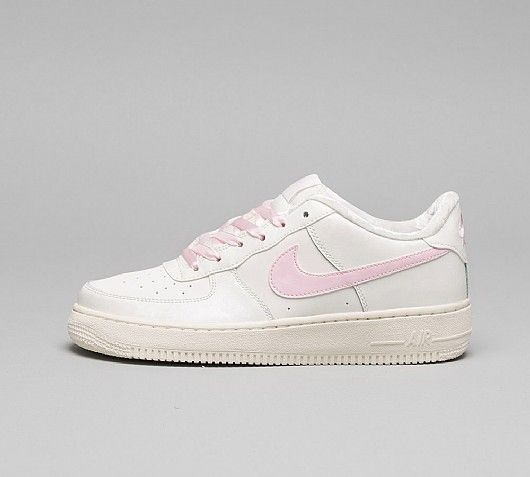 Nike Junior Air Force 1 GS Trainers in Sail and Arctic Pink