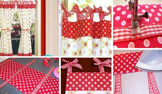 Você pode fazer uma cortina retrô para cozinha com os tecidos que você quiser, para decorar e proteger a sua cozinha do sol.