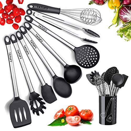 Silicone Cooking Utensils Kitchen Utensil Set Stainless Steel