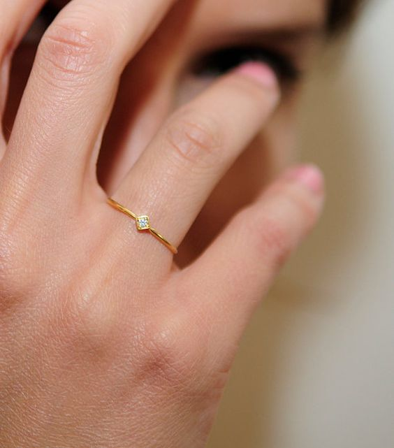 Minimalist Thin Gold Ring With A Diamond Band Wedding 14 Karat Engagement Rings Pinterest