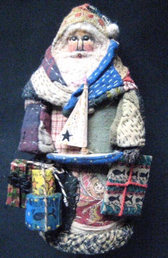"Primitive Santa ""CAPE COD"" Folk Art Santa-OOAK Original Design from Antique Quilt & Coverlet w/Handmade Sail Boat, Pantry Boxes and Gifts on Etsy, $195.00"