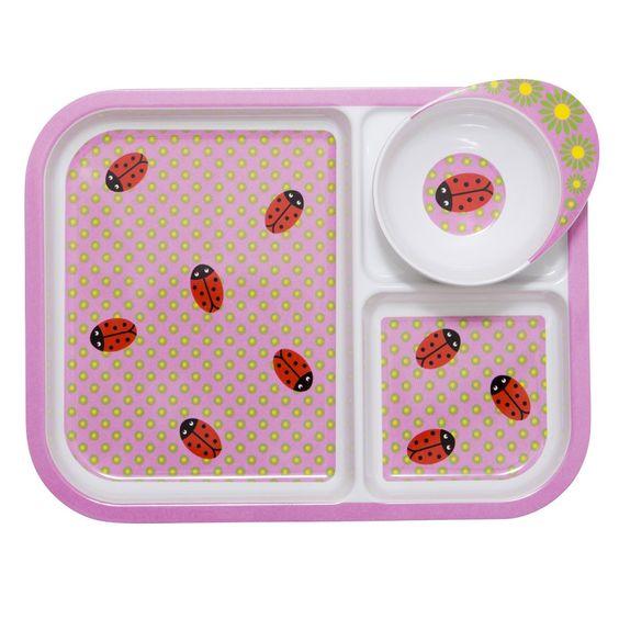 Für kleine Tierfreunde - putziges Kindergeschirr von Rice mit zauberhaften Marienkäfer und Blumenprint.  16,90
