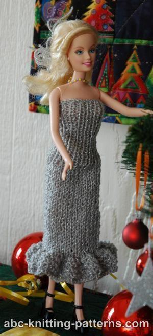 Barbie Free Doll Dress Knitting Pattern Knitting Pinterest Doll dresses...