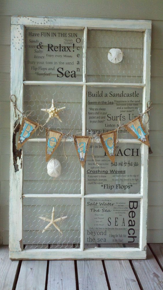 Beach theme antique window. For many more awesome old window decor ideas, click here: http://www.completely-coastal.com/2012/10/decor-ideas-for-old-window-frames.html: