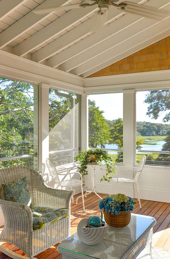 Beautiful screened in porch beach house porches for Beach porch ideas