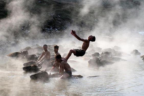 2013'ün en iyi 'yaşam' fotoğrafları Bitlis'in Budaklı Köyü'nde bulunan şifalı su, sıcaklığın sıfırın altına düştüğü kış mevsiminde çobanları tarafından getirilen manda ve atların uğrak yeri olmuş, kaplıcaya gelen çobanlar hayvanlarıyla birlikte 35 derece sıcaklıktaki şifalı suda yüzmenin keyfini çıkarmıştı. 03/01/2013