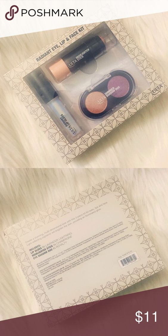 brand new ulta radiant eye, lip & face kit brand new ulta radiant eye, lip & face kit. includes lip gloss in 'lavender lightning', highlighter stick in 'champagne', and eyeshadow duo in 'royalty'. retails for $16.50. any questions, feel free to ask! thanks for looking ✌🏼️ Ulta Makeup