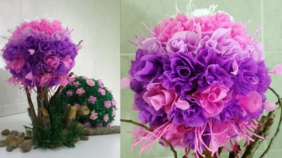 Paper Floral Topiary Part 1: Pink and Purple Tree