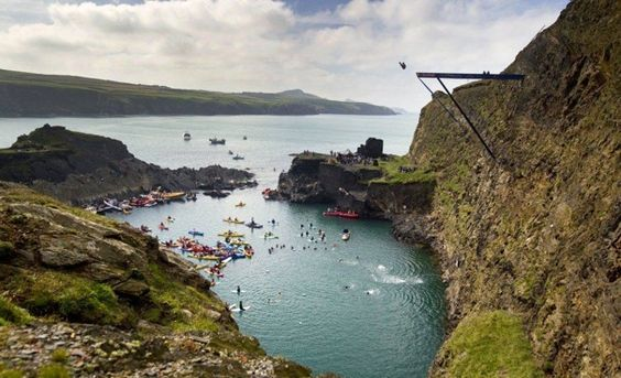 Red Bull Cliff Diving at The Blue Lagoon Pembrokeshire