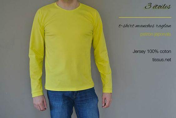 3 étoiles // t-shirt manches raglan - patron japonais / jersey tissus.net