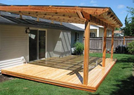 Patio Cover Designs   Small solid patio cover design with blue roof.