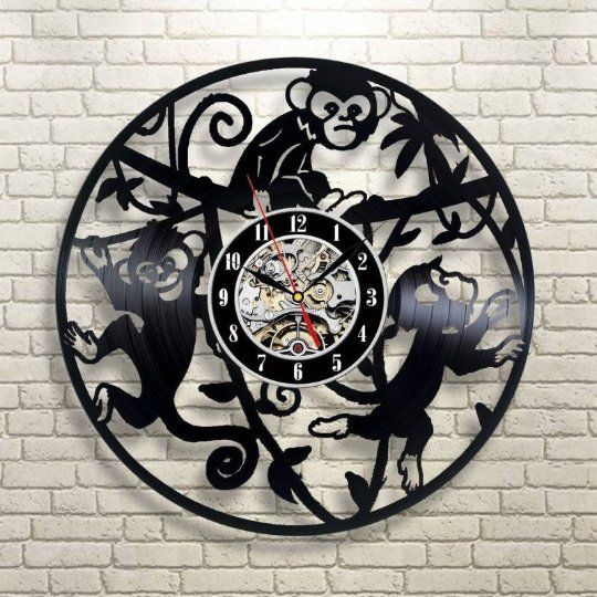 Monkey Room Art Animal Art Lp Vinyl Retro Record Wall Clock Birthday Gift Idea Monkeys Clock Wall Clock Exclusive Animal Gift Handmade Gift Vinyl Record Clock Record Clock Monkey Wall Art