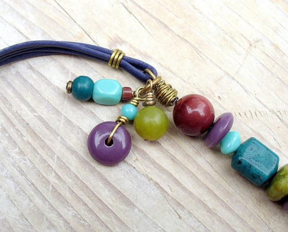 Beaded Leather Bracelet Purple Chartreuse Teal by BacaCaraJewelry