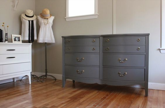 blue.lamb furnishings : Charcoal Double Bow-Front MCM Dresser - SOLD